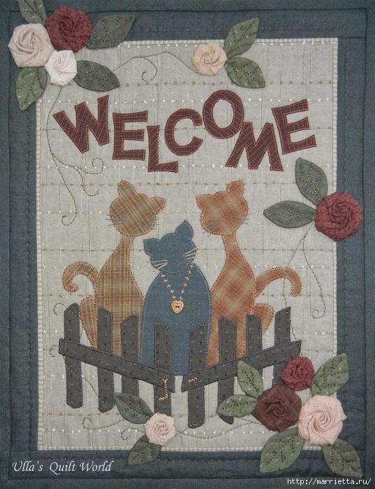 Текстильное панно с цветами из ткани (1) (537x700, 340Kb)