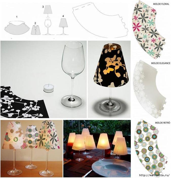 Candelabros para una noche romántica de vasos de vino (5) (676x700, 287KB)