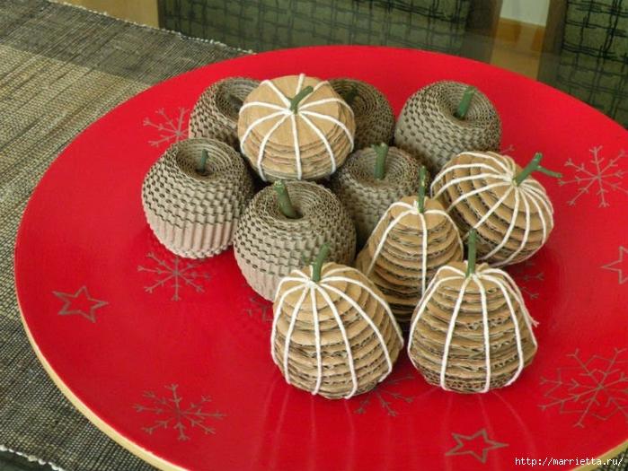 Яблоки и груши из гофрированного картона (7) (700x525, 307Kb)