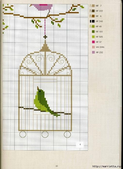Птица в клетке схема вышивки 36