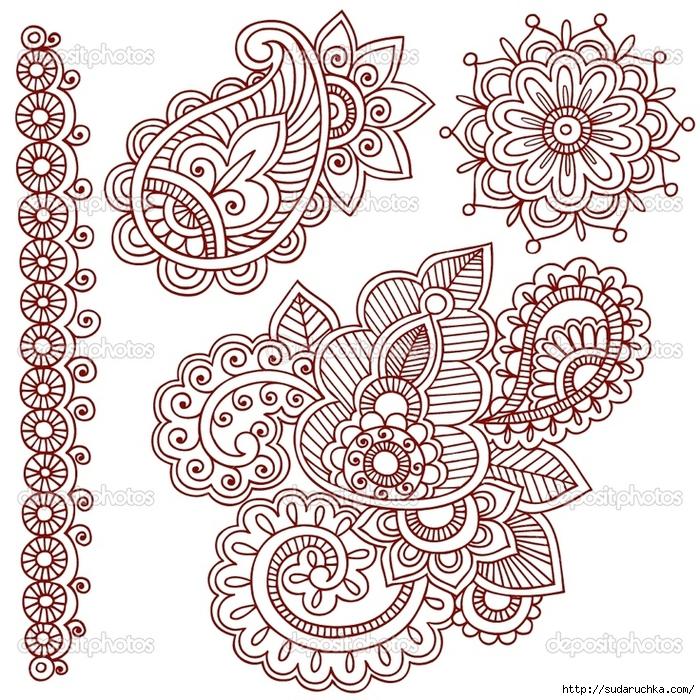 Рисунки для росписи хной. Трафареты.: www.liveinternet.ru/users/5174177/post351717913