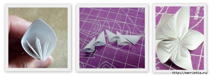 Цветочки оригами для украшения новогодней елочки (1) (700x255, 128Kb)