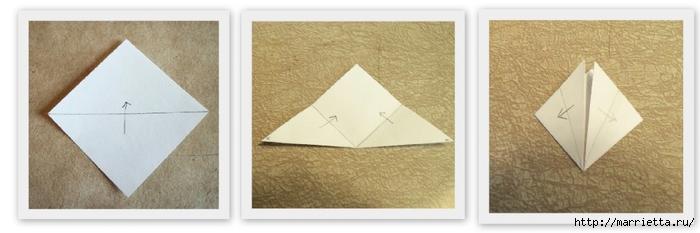Цветочки оригами для украшения новогодней елочки (3) (700x233, 116Kb)