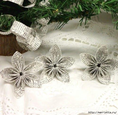 Цветочки оригами для украшения новогодней елочки (5) (500x486, 170Kb)