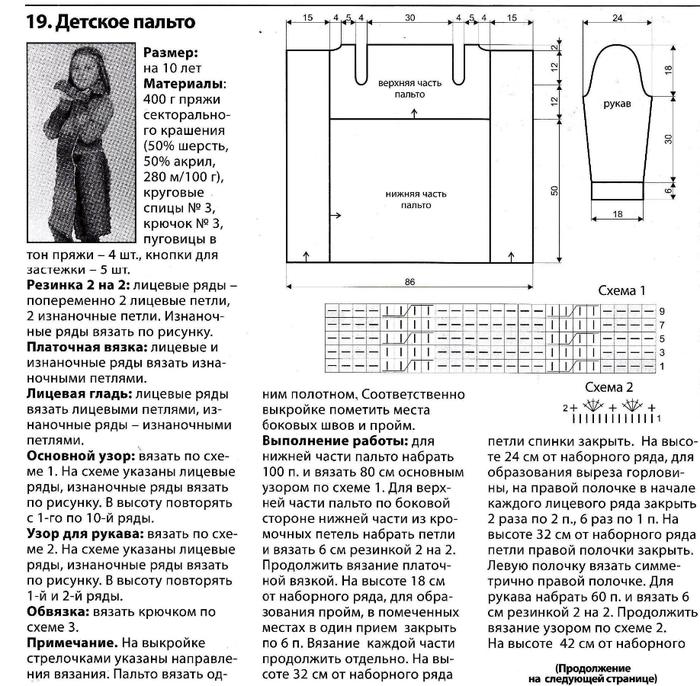 Вязание пальто с воротником схемы