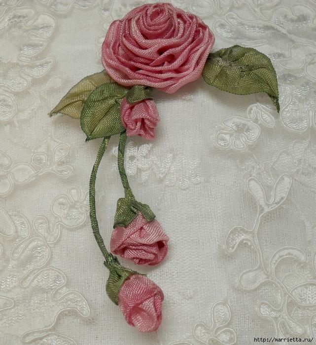 Цветы из ткани для украшения туфелек (34) (641x700, 401Kb)
