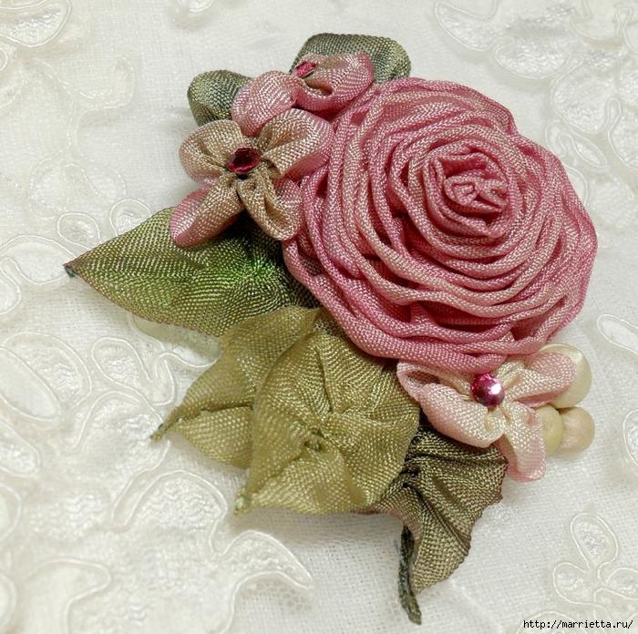 Цветы из ткани для украшения туфелек (36) (700x696, 463Kb)