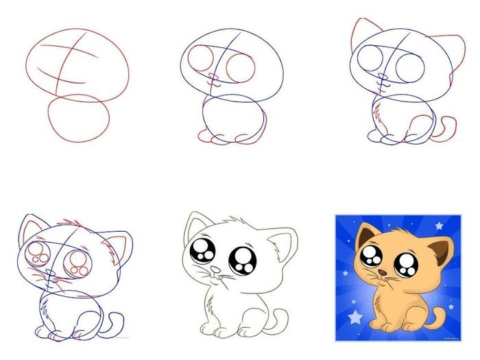 Как рисовать котенка смотреть