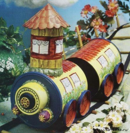 Сказочный паровозик из крышек и железных банок (2) (448x459, 132Kb)