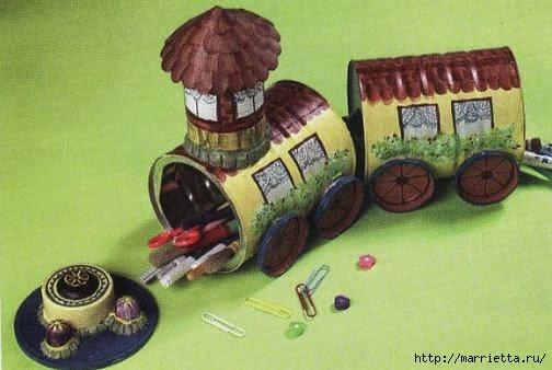 Сказочный паровозик из крышек и железных банок (10) (504x338, 103Kb)