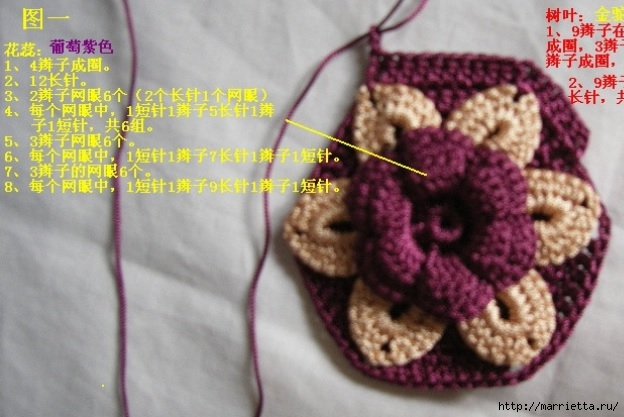 Цветочная сумочка крючком (5) (624x417, 160Kb)
