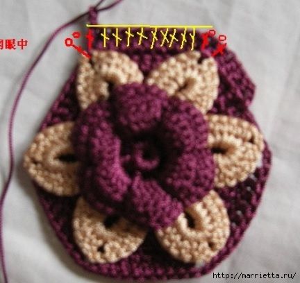 Цветочная сумочка крючком (9) (432x408, 104Kb)