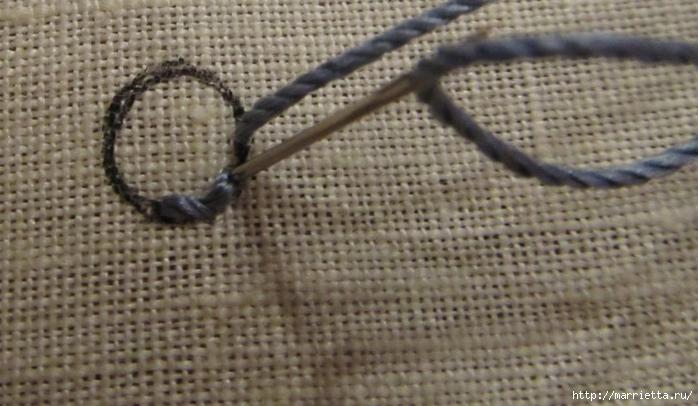 Спиральный шов в вышивке. Два фото мастер-класса (7) (700x406, 231Kb)