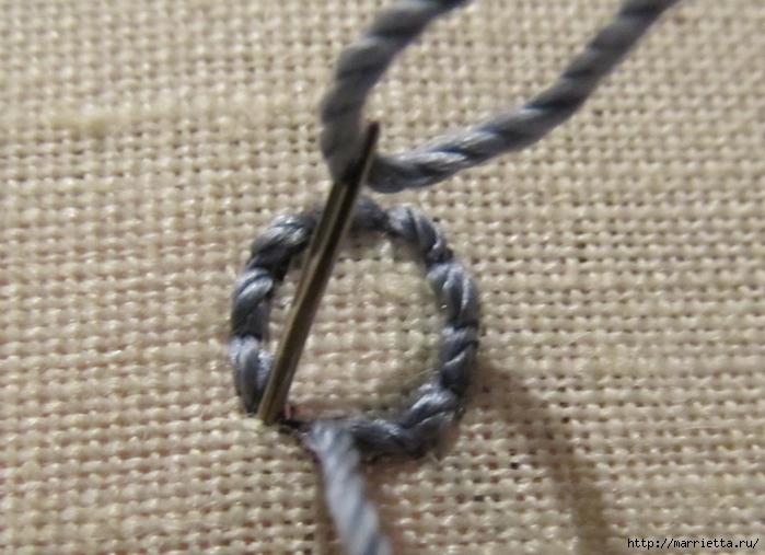 Спиральный шов в вышивке. Два фото мастер-класса (9) (700x507, 257Kb)