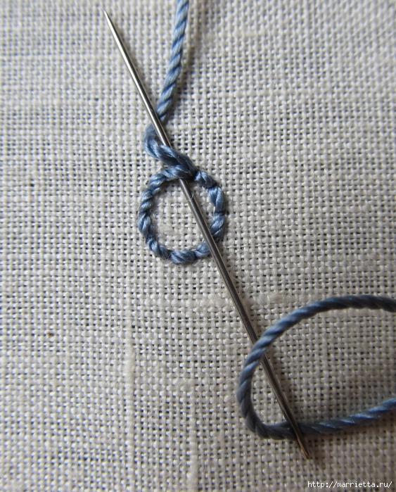 Спиральный шов в вышивке. Два фото мастер-класса (11) (563x700, 412Kb)