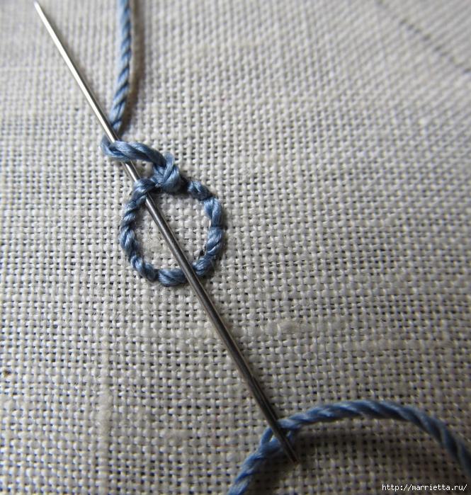 Спиральный шов в вышивке. Два фото мастер-класса (13) (665x700, 429Kb)