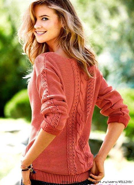 Пуловер спицами