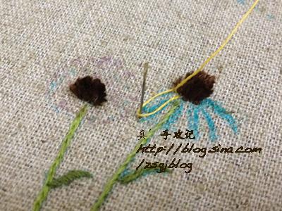 Объемная вышивка ромашек. Фото мк (8) (400x300, 204Kb)