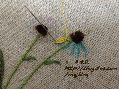 Объемная вышивка ромашек. Фото мк (12) (400x300, 199Kb)