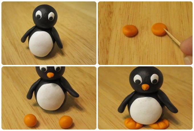 Как сделать пингвин из пластилина