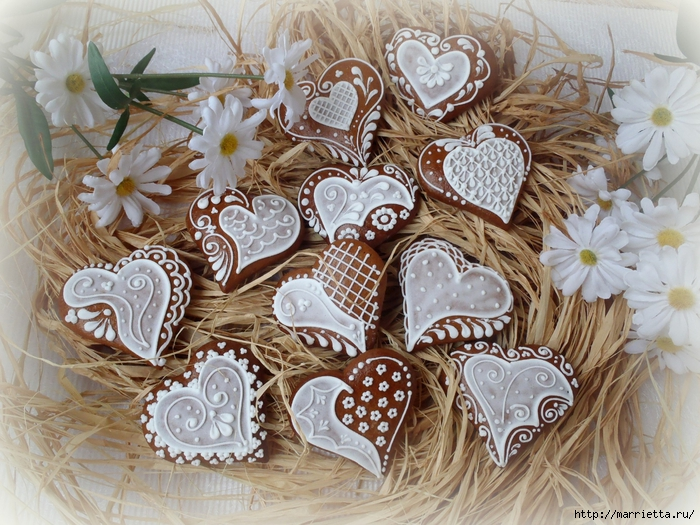 Сердечные пряники ВАЛЕНТИНКИ. Рецепт и красивые идеи (2) (700x525, 376Kb)
