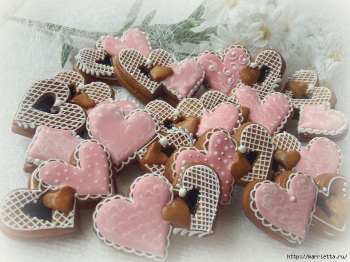 Сердечные пряники ВАЛЕНТИНКИ. Рецепт и красивые идеи (5) (700x525, 303Kb)