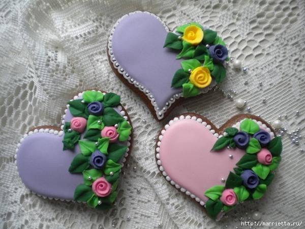 Сердечные пряники ВАЛЕНТИНКИ. Рецепт и красивые идеи (11) (600x450, 144Kb)