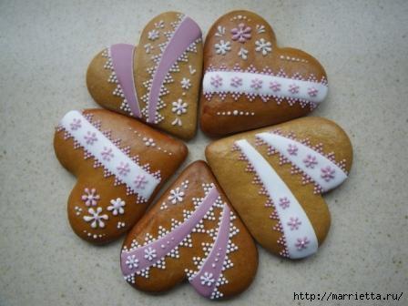 Сердечные пряники ВАЛЕНТИНКИ. Рецепт и красивые идеи (15) (448x336, 79Kb)
