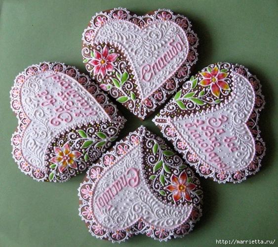 Сердечные пряники ВАЛЕНТИНКИ. Рецепт и красивые идеи (17) (563x500, 253Kb)