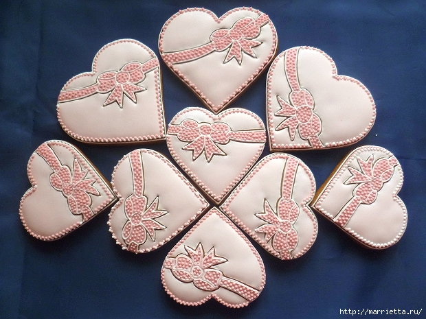 Сердечные пряники ВАЛЕНТИНКИ. Рецепт и красивые идеи (21) (620x465, 260Kb)