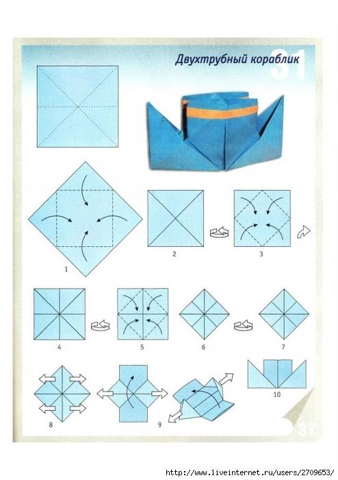 Сделать пароход из бумаги