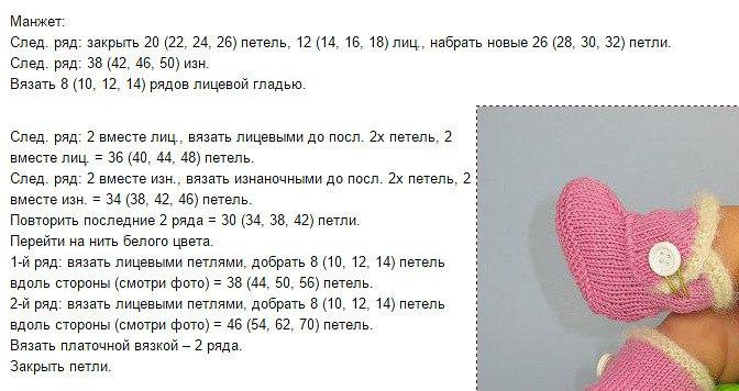 Пинетки спицами для новорожденных схемы и описание для мальчиков без шва