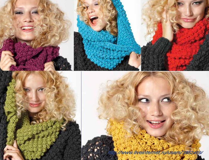Пуловер и яркий снуд одним узором (700x535, 164Kb)