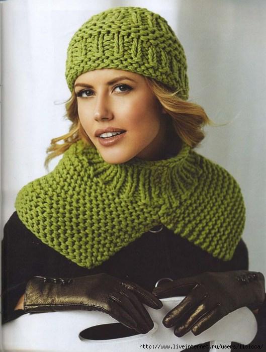 Вязание спицами зеленой шапки