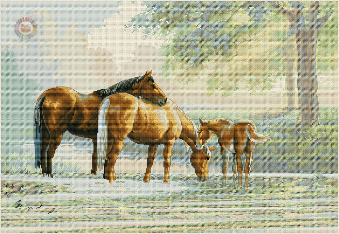 Horses by a stream (700x482, 680Kb)