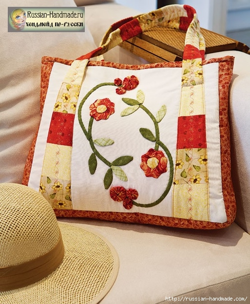 Как сшить сумку цветами из ткани в технике пэчворк (513x624, 255Kb)
