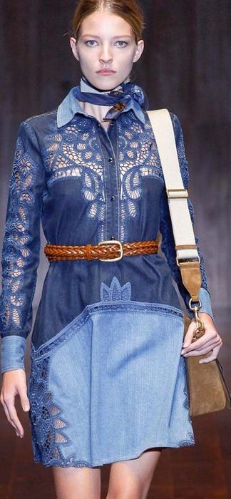 Вязание с джинсовой тканью 15