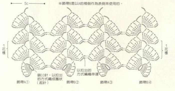 Схема жилета из ленточных кружев