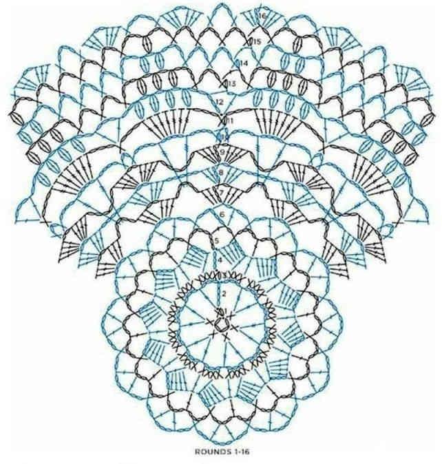 Как связать крючком красивую белую ажурную салфетку: схема с описанием 43