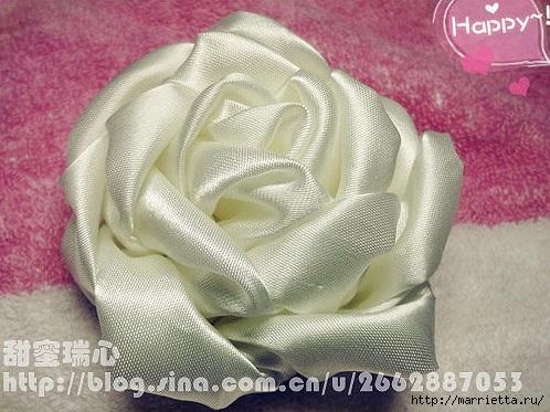 Объемная роза из атласа. Фото мастер-класс (1) (498x373, 159Kb)