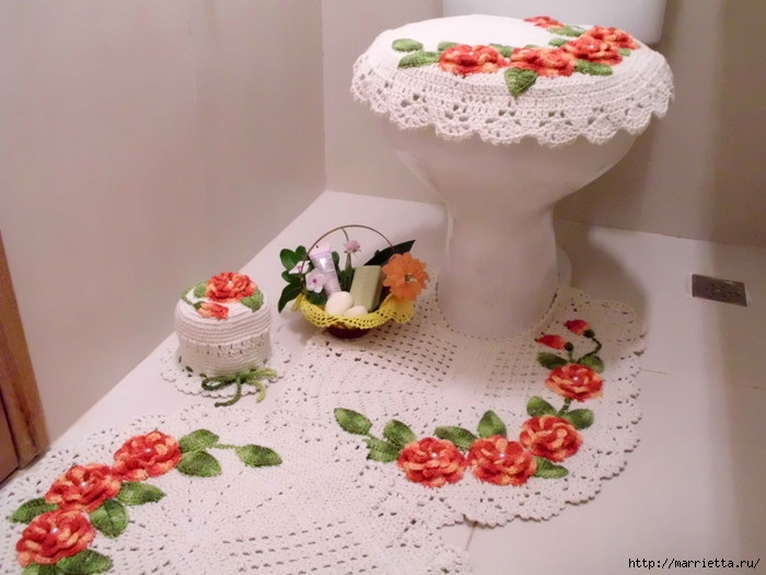 Красивое вязание крючком для ванной комнаты (15) (700x525, 182Kb)