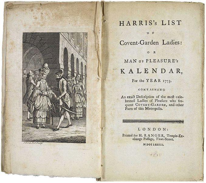 каталог лондонский проституток 1787 - 1788