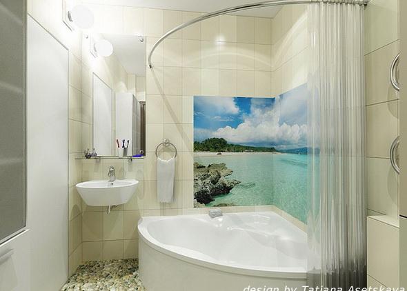 Угловая ванная комната дизайн