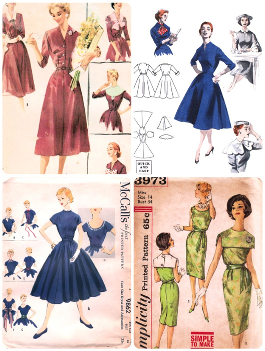50s dress with collars collage (529x700, 419Kb)