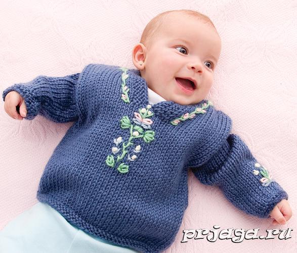 Детский пуловер с вышивкой