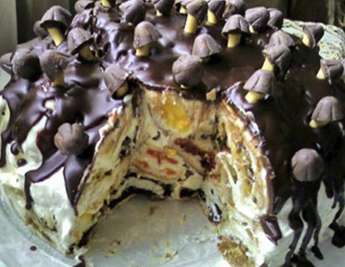 Торт трухлявый пень с вареньем пошаговый рецепт с фото