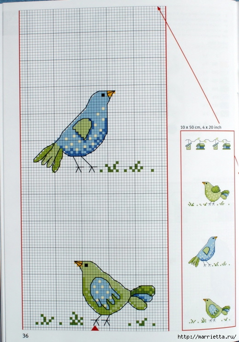 вышивка для скатерти. Птички, белочки, грибочки, листья (9) (490x700, 247Kb)