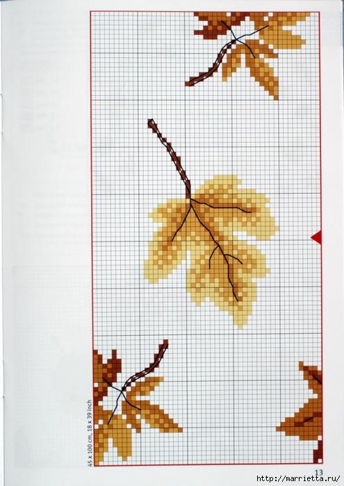 вышивка для скатерти. Птички, белочки, грибочки, листья (20) (495x700, 242Kb)