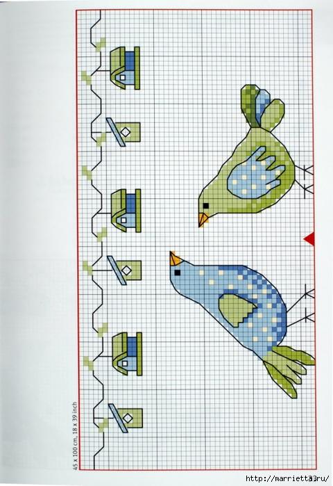 вышивка для скатерти. Птички, белочки, грибочки, листья (24) (480x700, 253Kb)