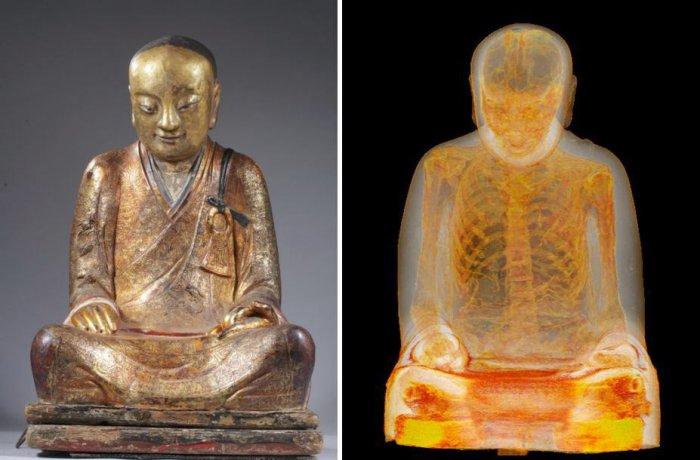 мумия монаха в статуе будды 2 (700x460, 214Kb)